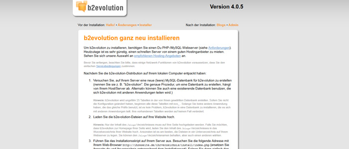 b2evolution Installationsanleitung