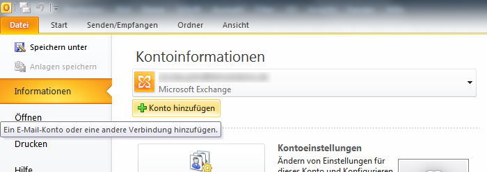 E-Mail Adresse in Outlook einrichten