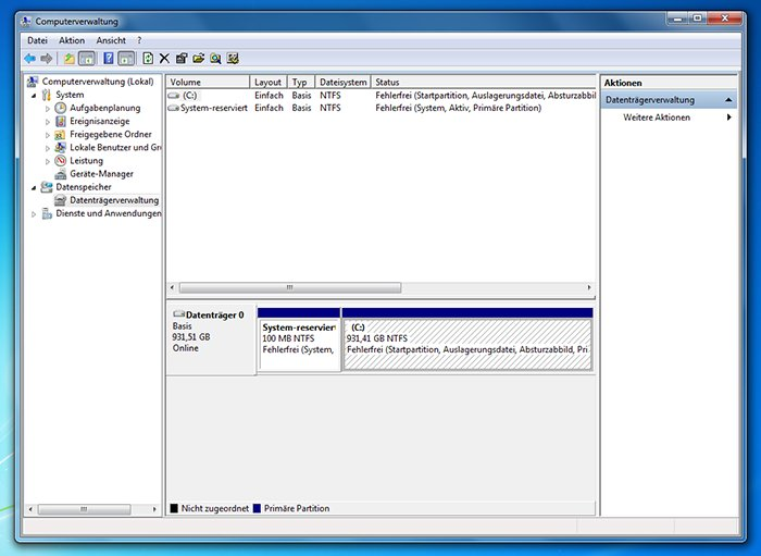 Festplatte partitionieren Windows 7