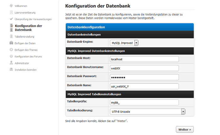 Konfiguration der Datenbank