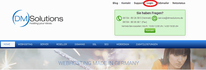 Login Button auf DM Solutions-Homepage
