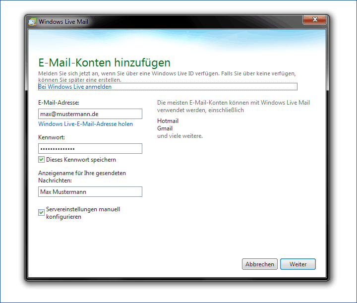 E-Mail einrichten Windows 7