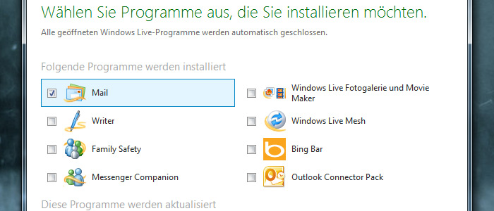 Windows Live Mail Installationsanleitung