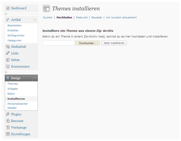 Anderes Theme in WordPress installieren