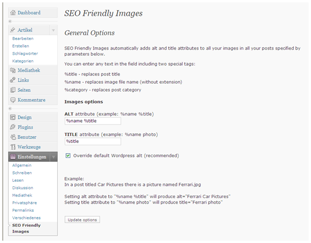 SEO friendly images WordPress