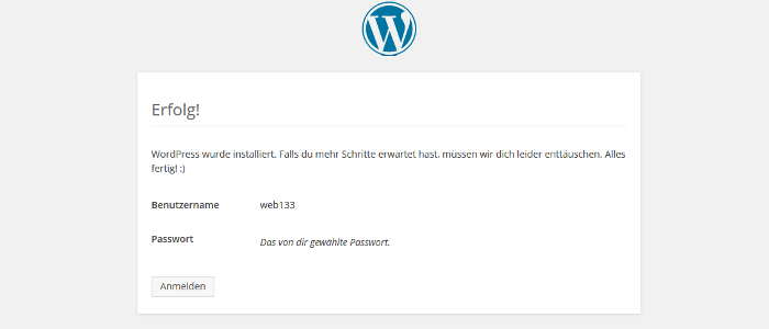 WordPress-Installation beenden